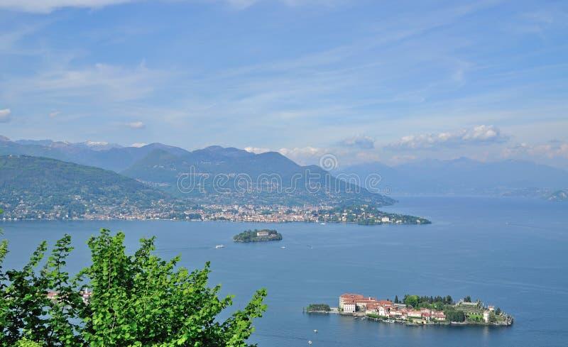 Isola Bella,Lake Maggiore,Stresa,Piedmont,Italy. View of the borromean islands with Isola Bella in foreground,Lake Maggiore,Stresa,Piedmont,Italy stock image