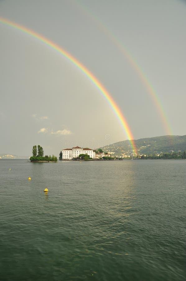 Isola Bella , Stresa, Lake - lago - Maggiore, Italy. Double rainbow stock photography