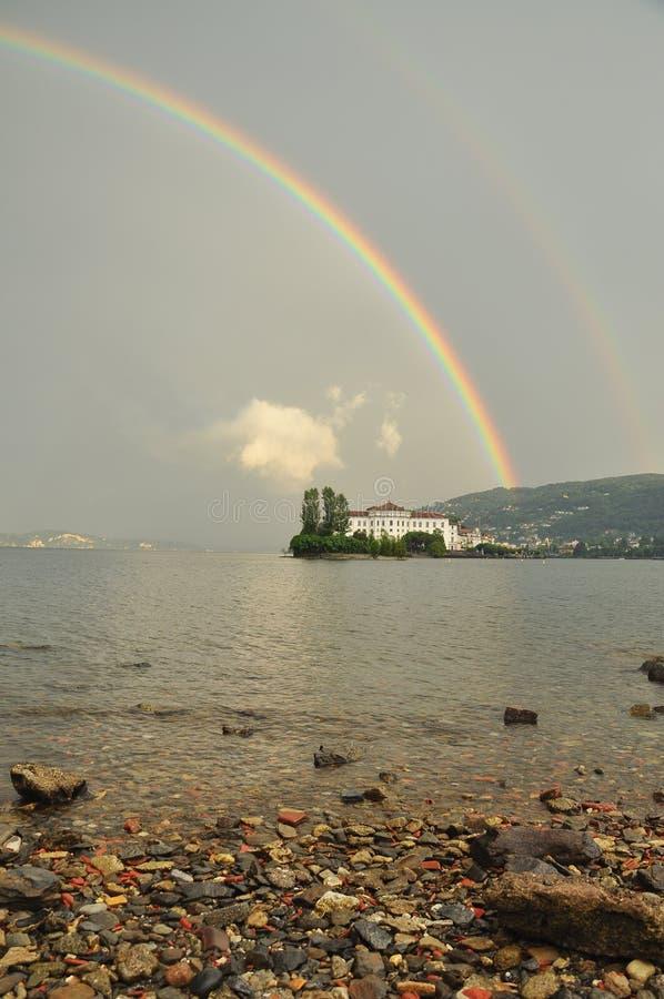 Isola Bella , Stresa, Lake - lago - Maggiore, Italy. Double rainbow royalty free stock photography
