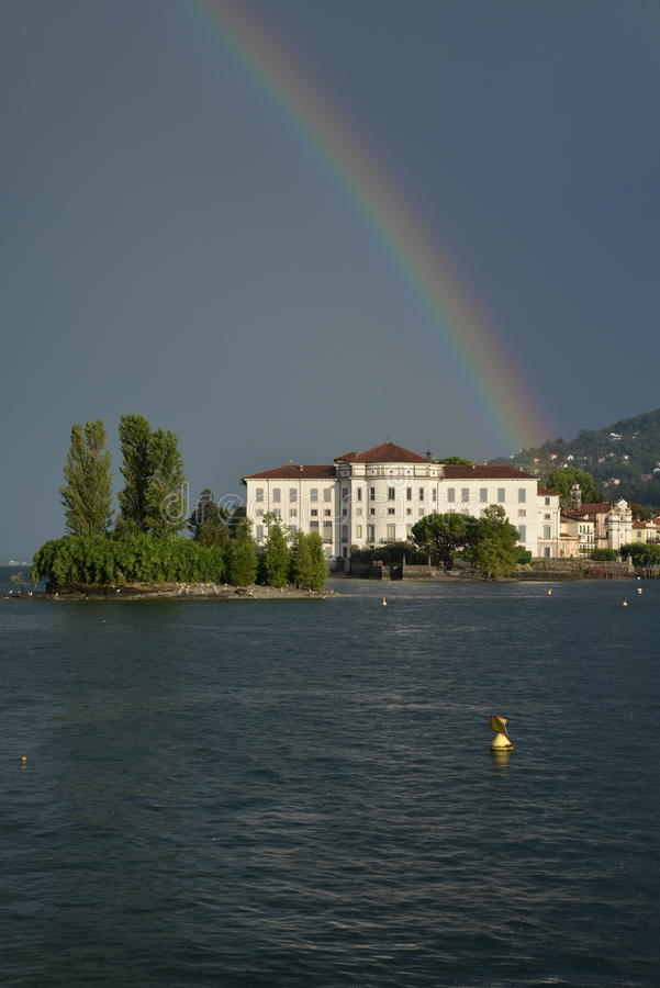 Isola Bella, Stresa, Lake - lago - Maggiore, Italy. Rainbow royalty free stock images
