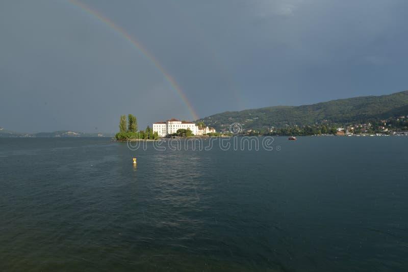 Isola Bella, Stresa, Lake - lago - Maggiore, Italy. Rainbow royalty free stock image