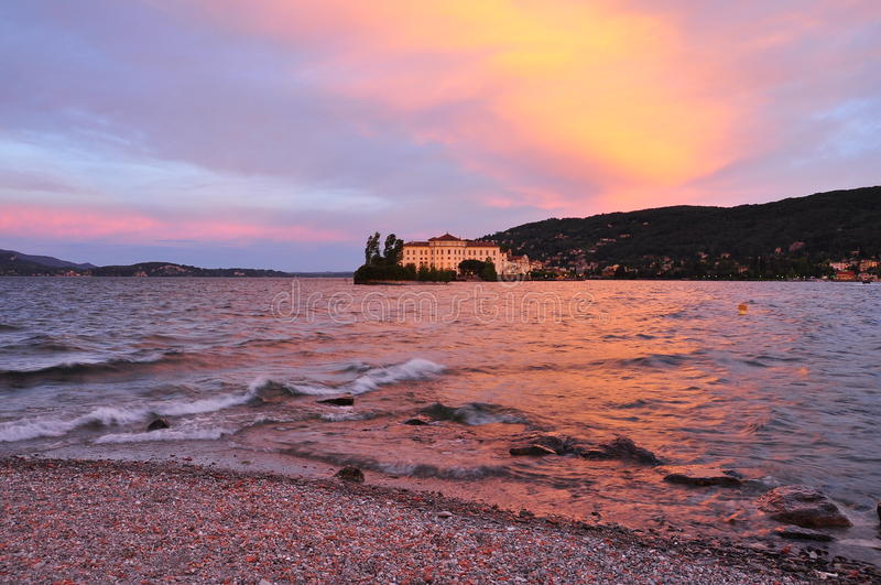 Lake lago Maggiore, isola Bella by sunset, Stresa, Italy stock images