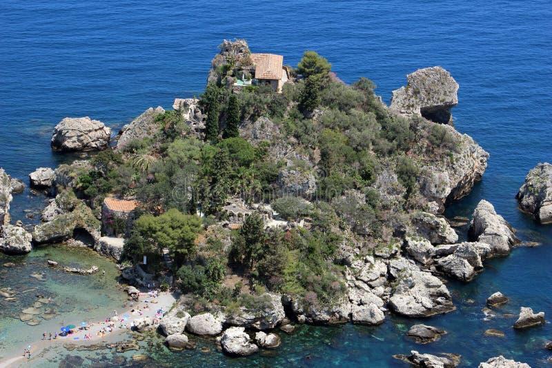 Isola Bella in Taormina, Italië stock foto's