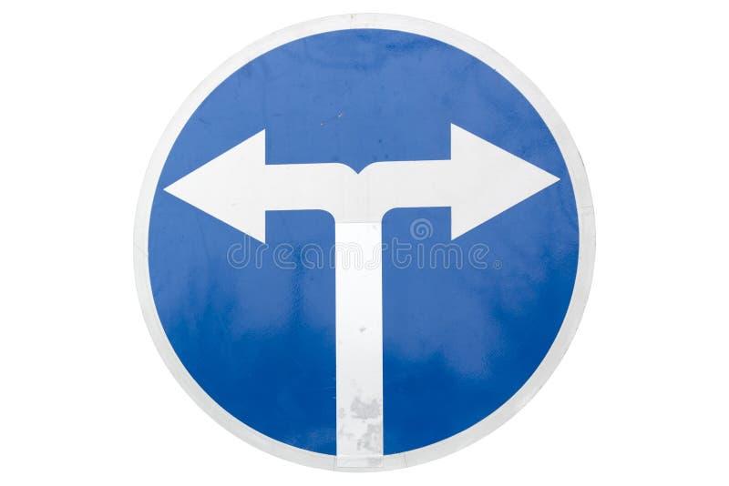 Isola bleu rond de panneau routier de tour de ` de ` obligatoire à gauche et à droite en avant illustration stock