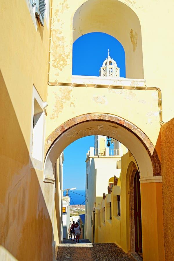 Isola cattolica Grecia di Santorini della chiesa della cattedrale immagine stock