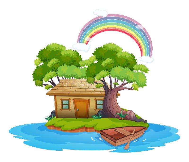 Isola con il cottage di legno illustrazione vettoriale
