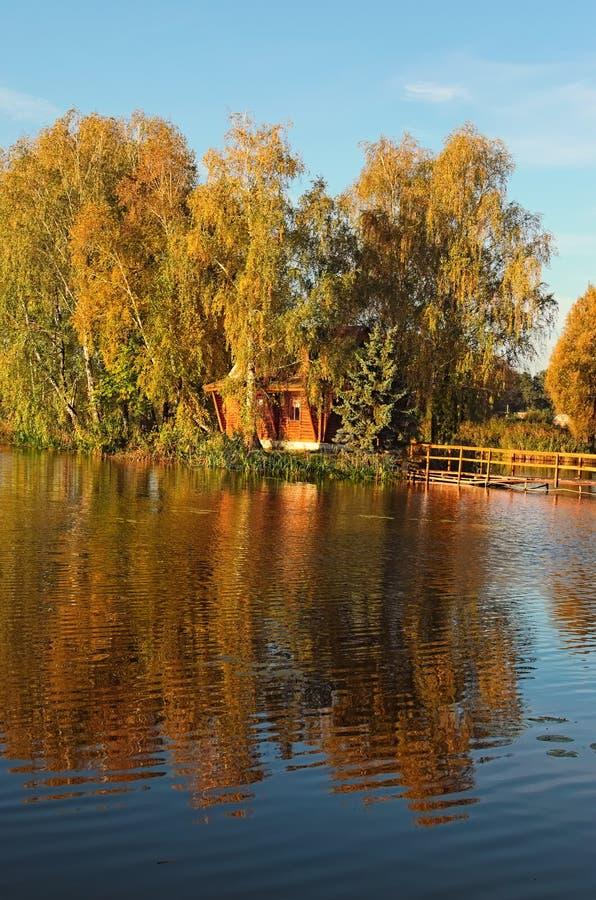 Isola con la casa abbandonata ed alberi in mezzo al lago Paesaggio di mattina di autunno Villaggio di vecchio Solotvin fotografia stock libera da diritti