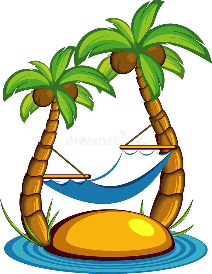 Isola con le palme e un hammock illustrazione di stock