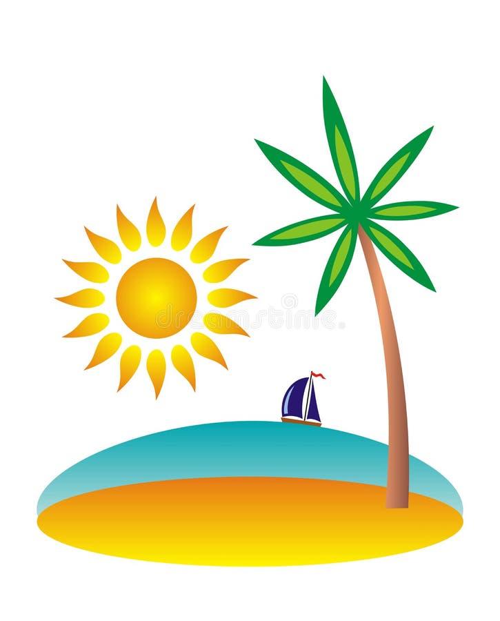 Isola con una palma nel mare tropicale Un disegno del fumetto illustrazione di stock