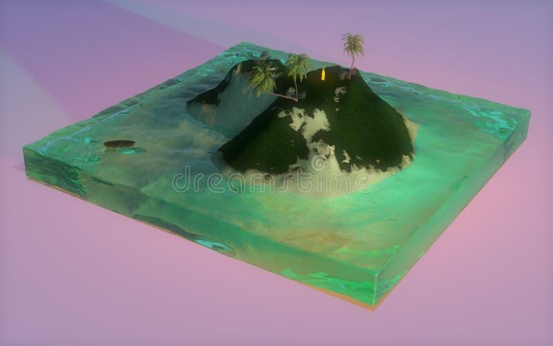 isola 3D con gli alberi ed il mare illustrazione vettoriale
