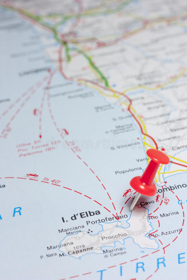 Isola D Elba Italy On A Map Stock Photo Image of destination