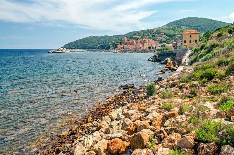 Isola d'Elba (Italy), Rio Marina. Town and bay (Tuscany stock photo
