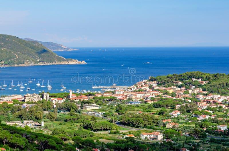 Isola d'Elba, Marina di Campo (Italy). View from Sant'Ilario royalty free stock image