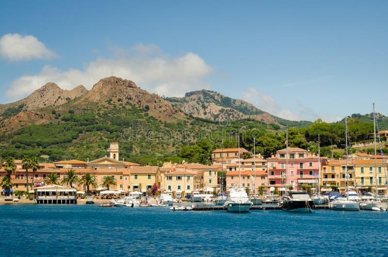 Isola d'Elba, Porto Azzurro. And Elba mountains stock image