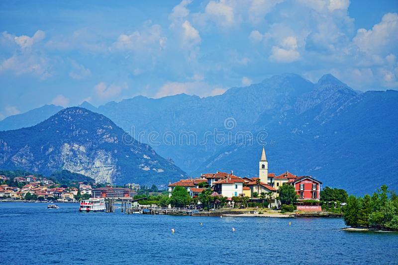 Isola dei Pescatory Lake Maggiore beautiful view Italy royalty free stock image