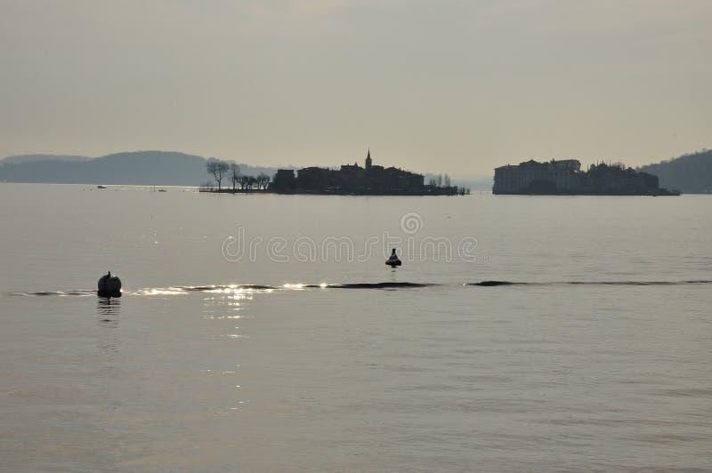 Isola dei Pescatori, sunrise, lake Maggiore, Italy stock photography