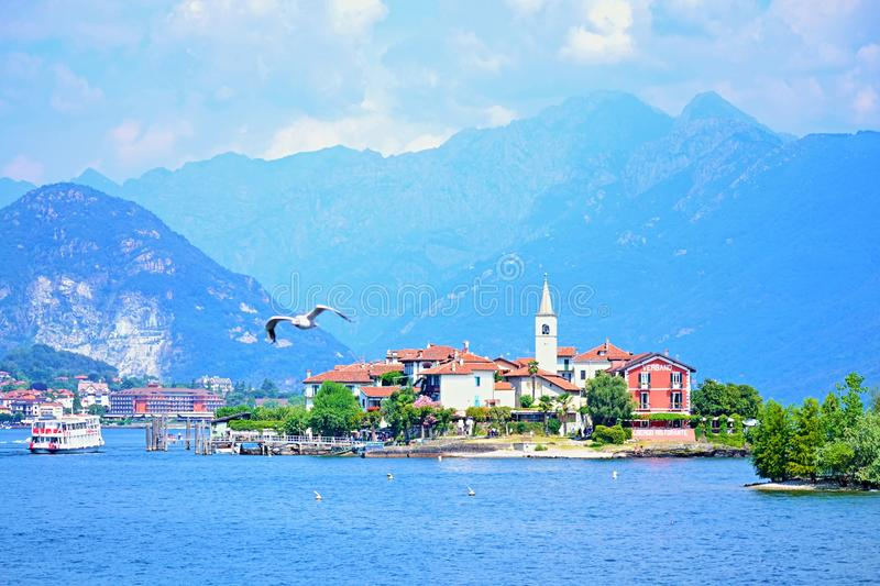 Isola dei Pescatory Lake Maggiore beautiful view Italy stock photography
