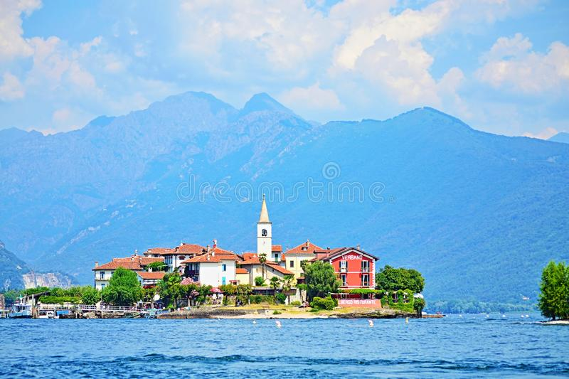 Isola dei Pescatory Lake Maggiore beautiful view Italy royalty free stock photography