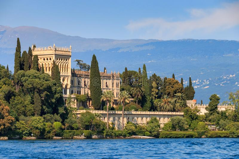 Isola del Garda, Italy. Isola del Garda is the biggest island on Lake Garda that has been open to visitors since 2001 and is dominated by the venetian neogothic royalty free stock image