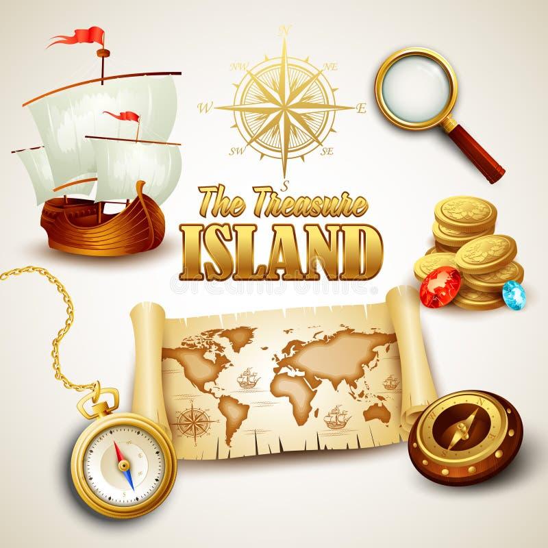 Isola del tesoro Le icone di vettore hanno impostato illustrazione vettoriale