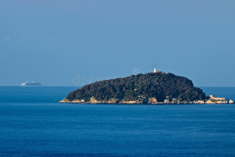 Isola del Tino och i avståndet oasen av havskryssningskeppet royaltyfria foton