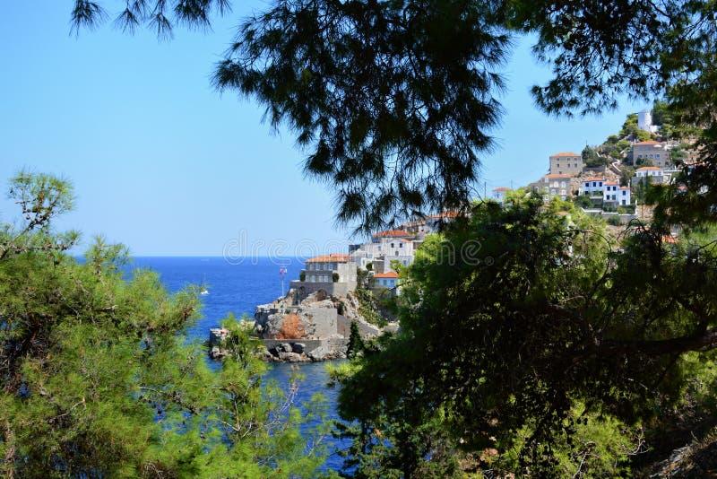 Isola della hydra in Grecia, golfo di Saronic del mar Egeo fotografie stock libere da diritti