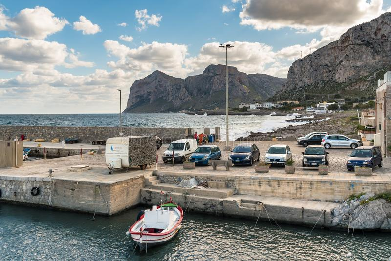 Pier of Isola delle Femmine or Island of Women in province of Pa. Isola delle Femmine, Palermo, Italy - September 27, 2018: Pier of Isola delle Femmine or Island royalty free stock photos