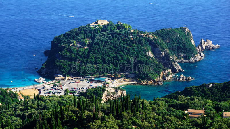 Isola di Corfù - vecchio monastero Paleokastritsa fotografie stock libere da diritti