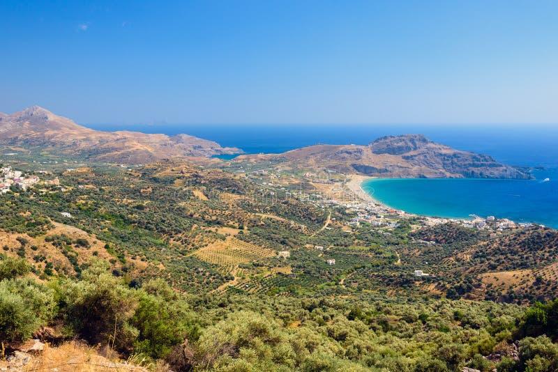Isola di Creta di estate, vista sulla valle vicino alla città di Plakias fotografia stock libera da diritti