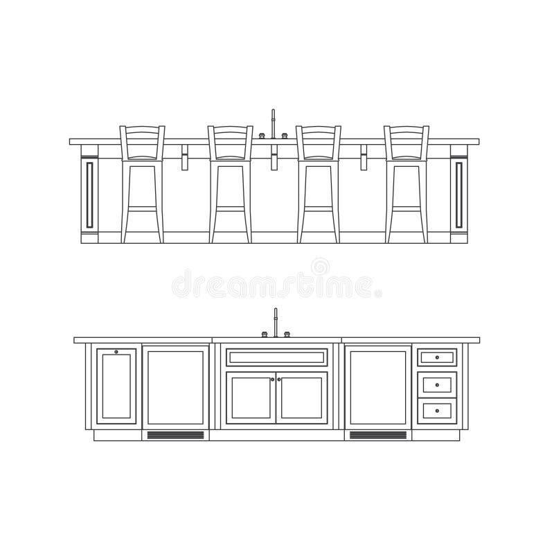 Isola di cucina illustrazione vettoriale illustrazione di interiori 14125618 - Altezza isola cucina ...