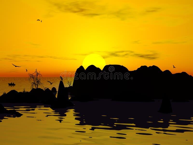 Isola di deserto al tramonto illustrazione vettoriale