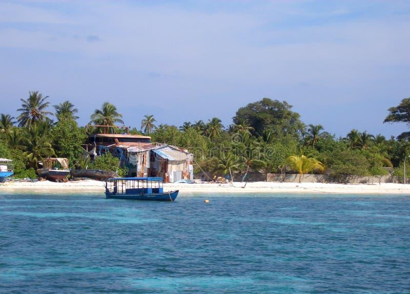 Isola di Dhangethi - Maldive fotografie stock libere da diritti