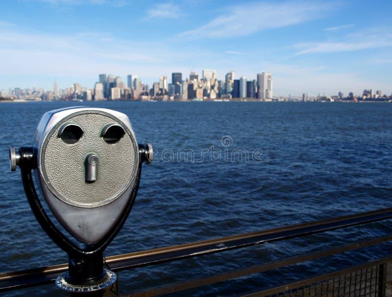 Isola di Manhattan dall'isola di libertà fotografie stock