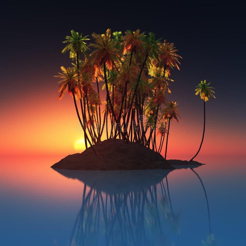 Isola di palma all'oceano ed al tramonto fotografia stock libera da diritti
