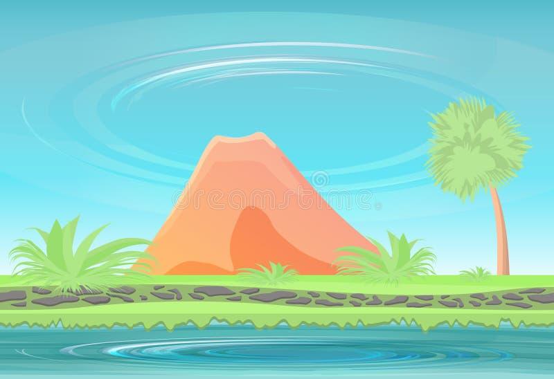 Isola di paradiso Vulcano inattivo illustrazione vettoriale