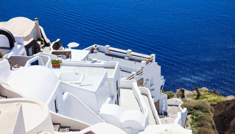 Isola di Santorini, Grecia - caldera sopra il mar Egeo fotografia stock libera da diritti