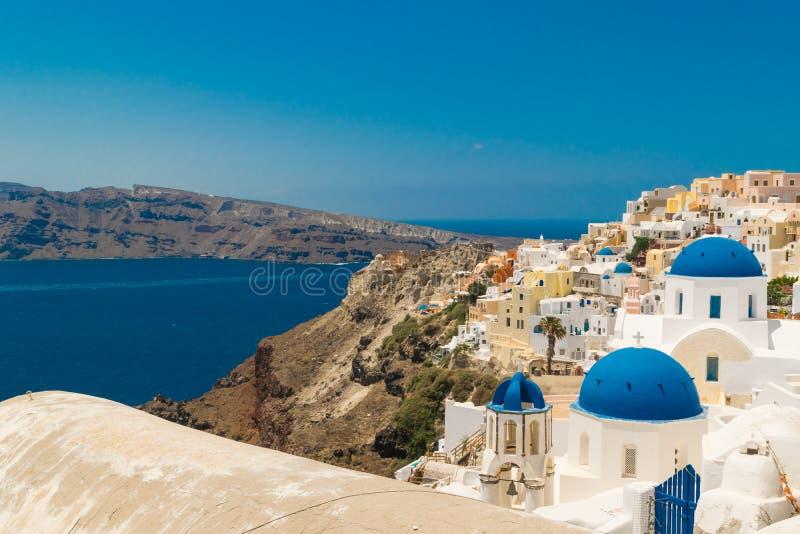 Isola di Santorini in Grecia Vista panoramica Destinazione turistica Estate immagini stock