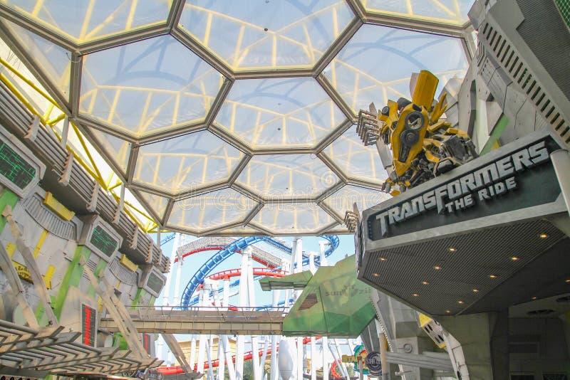 Isola di Sentosa, SINGAPORE - aprile 12,2016: Città di Sci Fi dentro lo studio universale Singapore una del famoso perché abbia T immagini stock