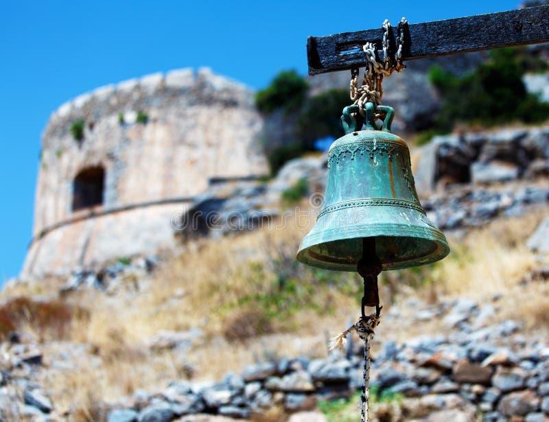 Isola di Spinalonga con la fortezza medievale, Creta fotografie stock