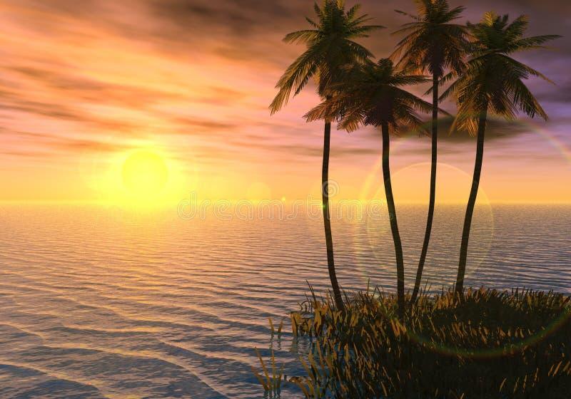 Isola di tramonto fotografie stock