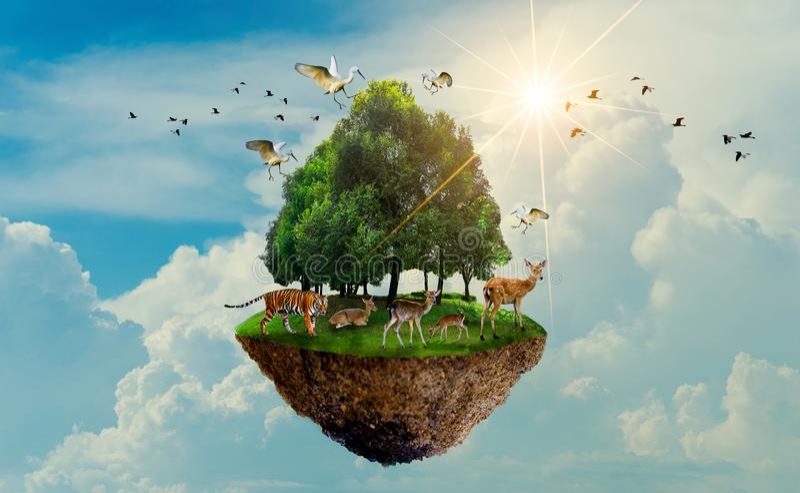 Isola di uccello dei cervi della tigre della fauna selvatica dell'albero forestale che galleggia nella giornata per la Terra di g royalty illustrazione gratis