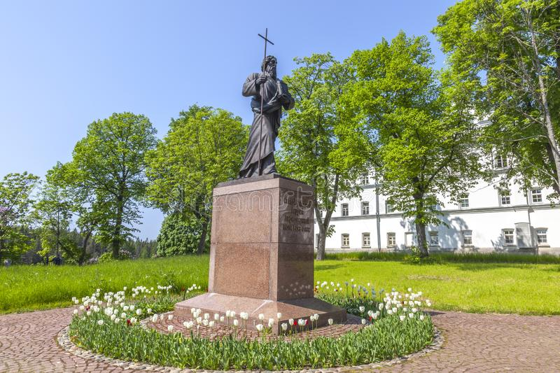 Isola di Valaam Monumento a St Andrew l'apostolo immagini stock libere da diritti