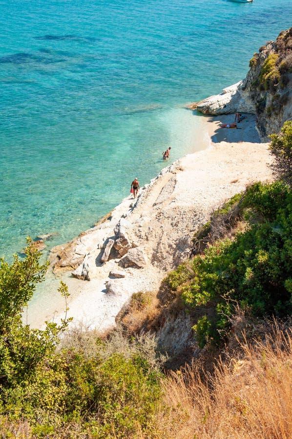 Isola di Zacinto, Grecia Spiaggia di Xigia immagini stock libere da diritti