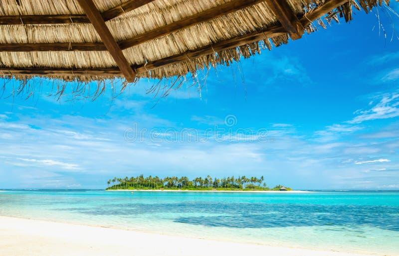 Isola disabitata esotica con una spiaggia sabbiosa e palme alte con un ombrello della palma immagine stock