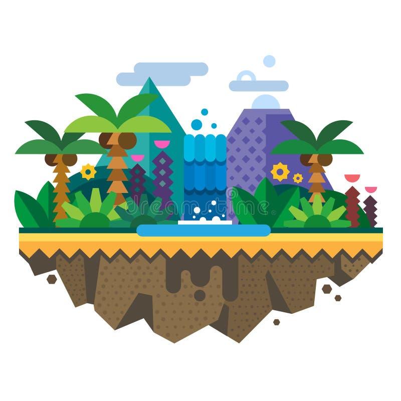 Isola disabitata, giungla illustrazione di stock
