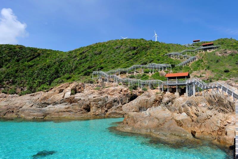 Isola e Windturbine immagine stock libera da diritti