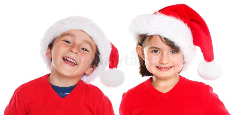 Isola feliz sonriente de Santa Claus de la Navidad de la muchacha del muchacho de los niños de los niños imagenes de archivo