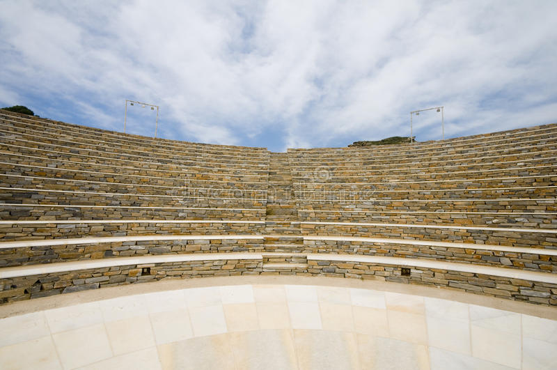 Isola Greca Cicladi Dell IOS Del Amphitheater Fotografia Stock
