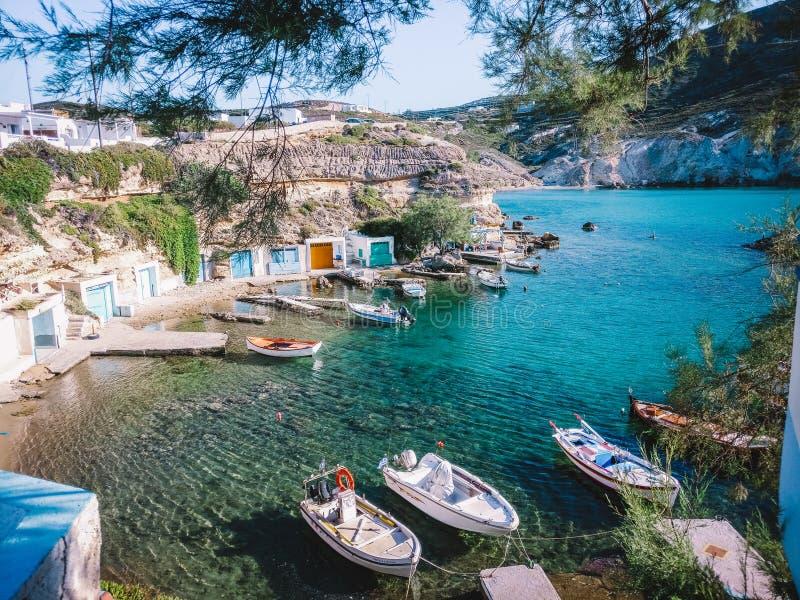 Isola Grecia di paradiso della barca fotografia stock libera da diritti