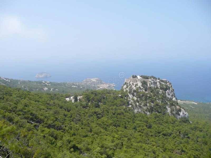 Isola Grecia di Rodi di vista del paesaggio fotografie stock